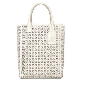 NEW Tory Burch white/ivory Perforated Tote Bag